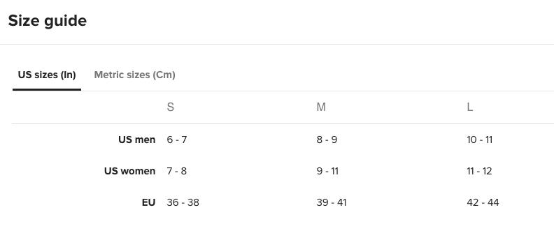 Flip Flops Size Chart