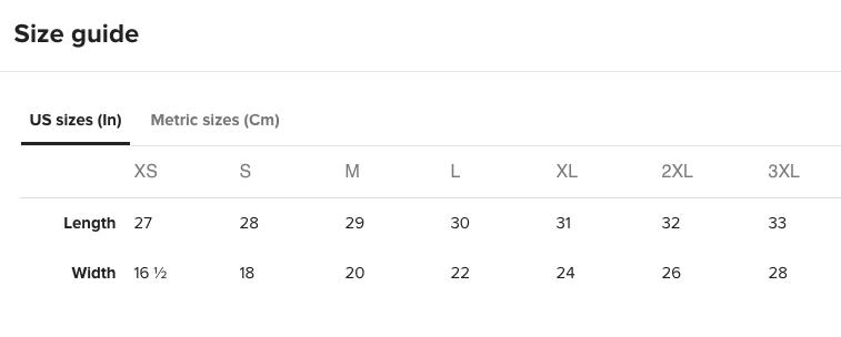 Crew Neck T-Shirt Size Chart