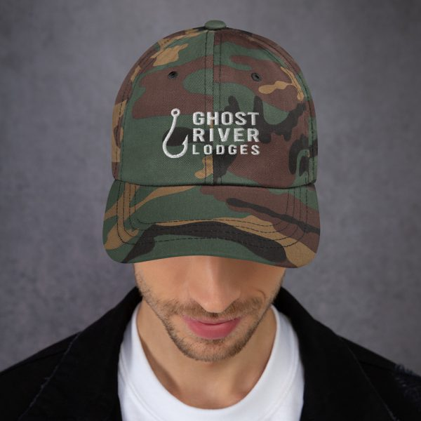 Ghost River Lodges – Dad Hat – Hook Logo – Camo – Male Model