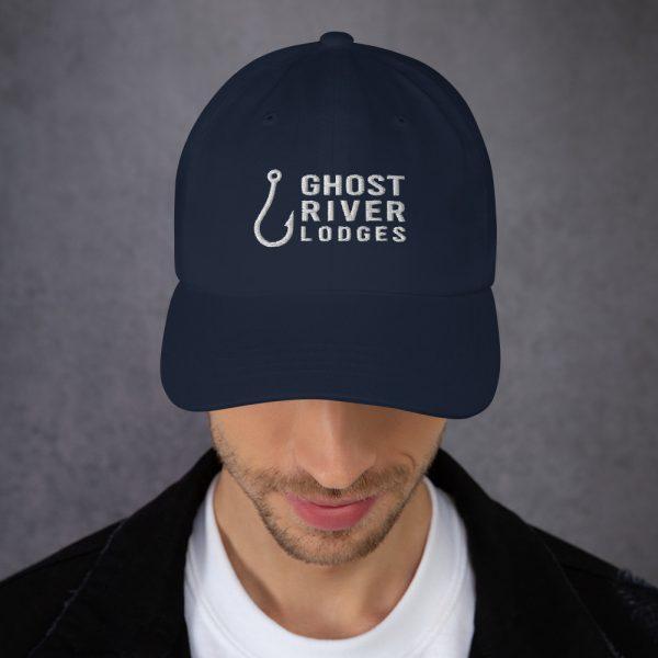 Ghost River Lodges – Dad Hat – Hook Logo – Navy – Male Model