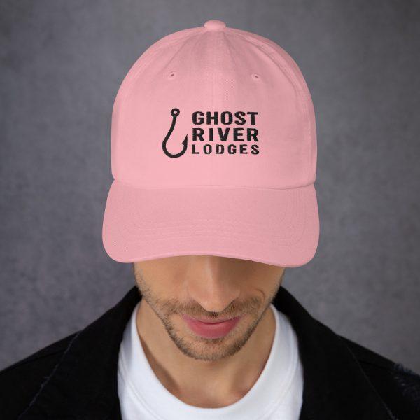 Ghost River Lodges – Dad Hat – Hook Logo – Pink-Black – Male Model