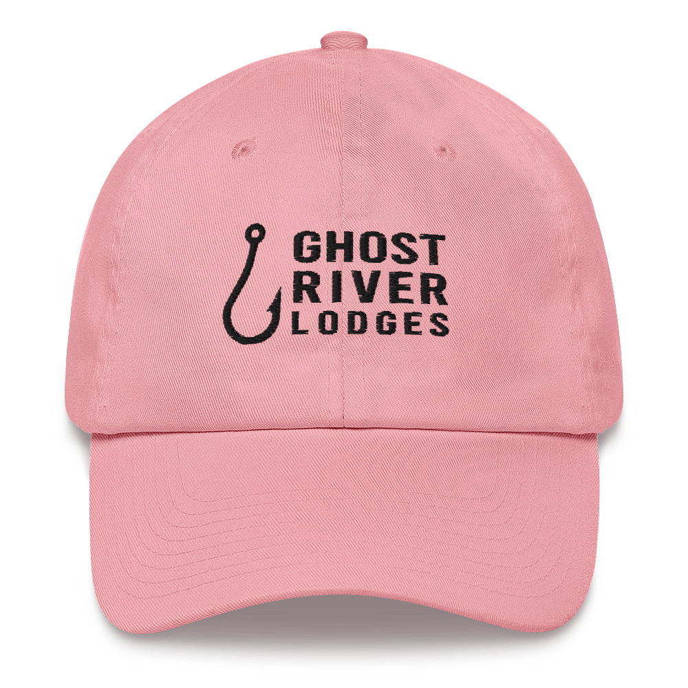 Ghost River Lodges - Dad Hat - Hook Logo - Pink-Black