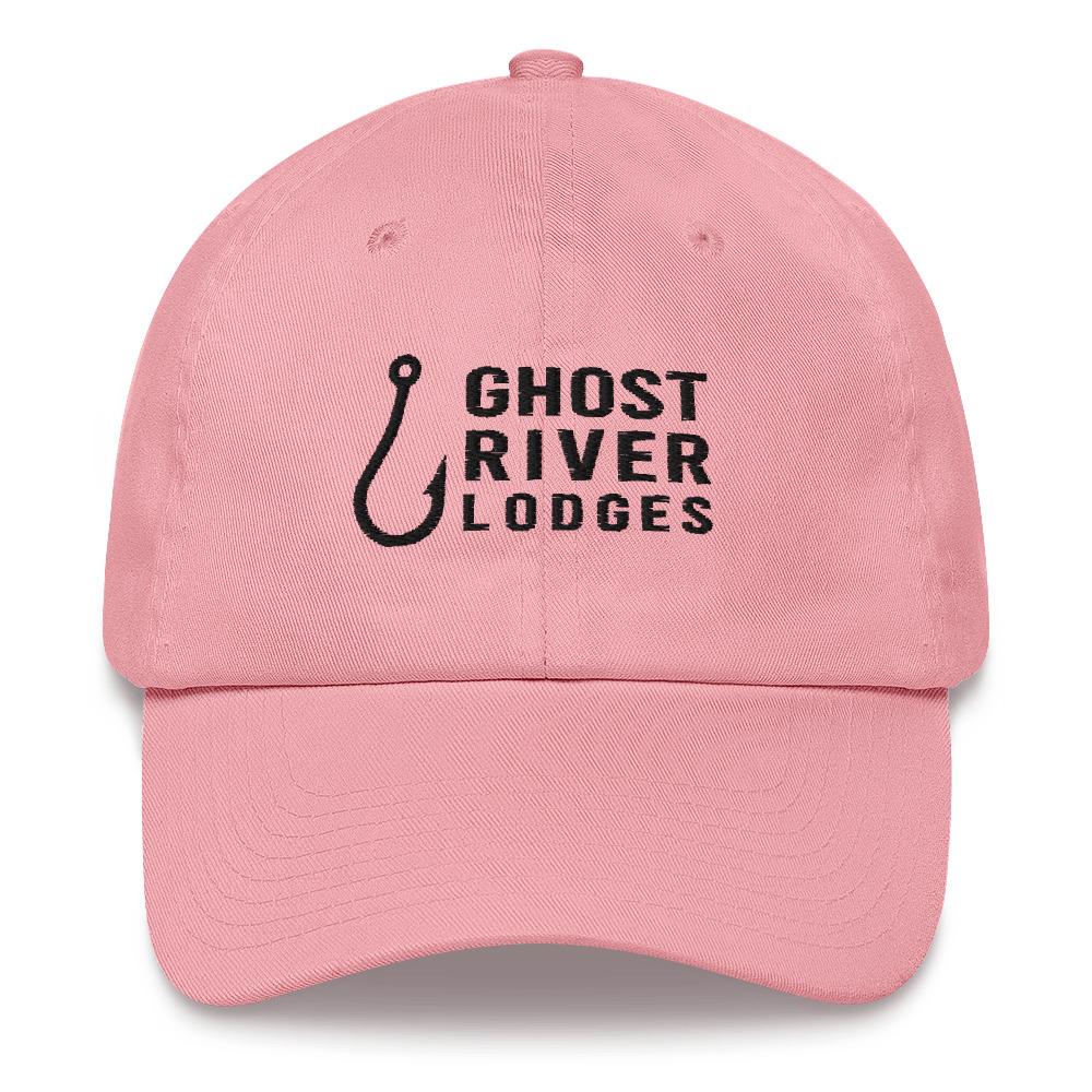 Ghost River Lodges - Dad Hat - Hook Logo - Pink-Black