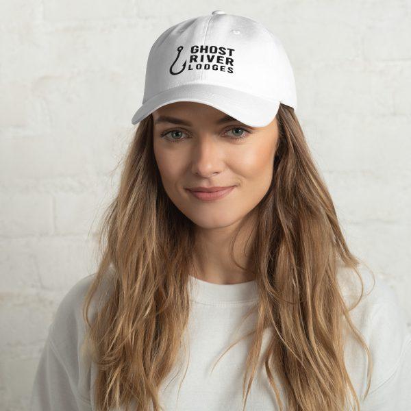 Ghost River Lodges – Dad Hat – Hook Logo – White – Female Model
