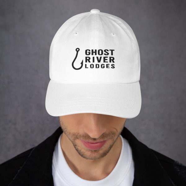 Ghost River Lodges – Dad Hat – Hook Logo – White – Male Model