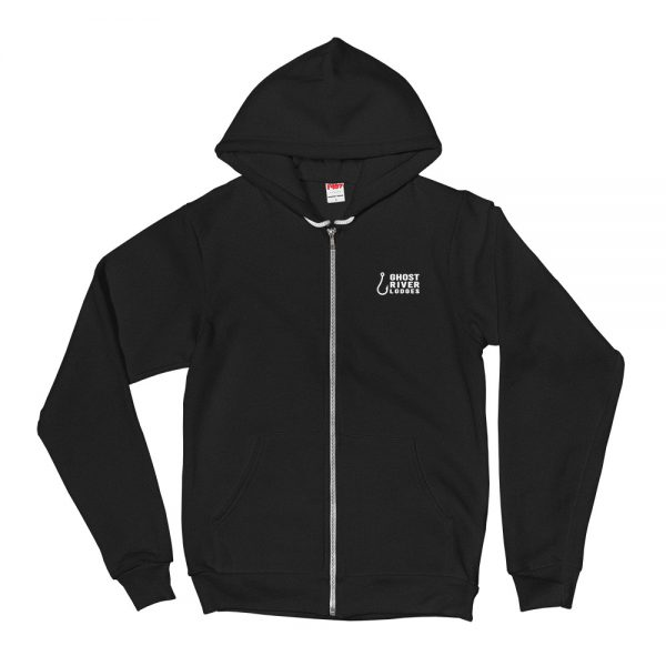 Ghost River Lodges – Mens Black Zip Hoodie – Flat