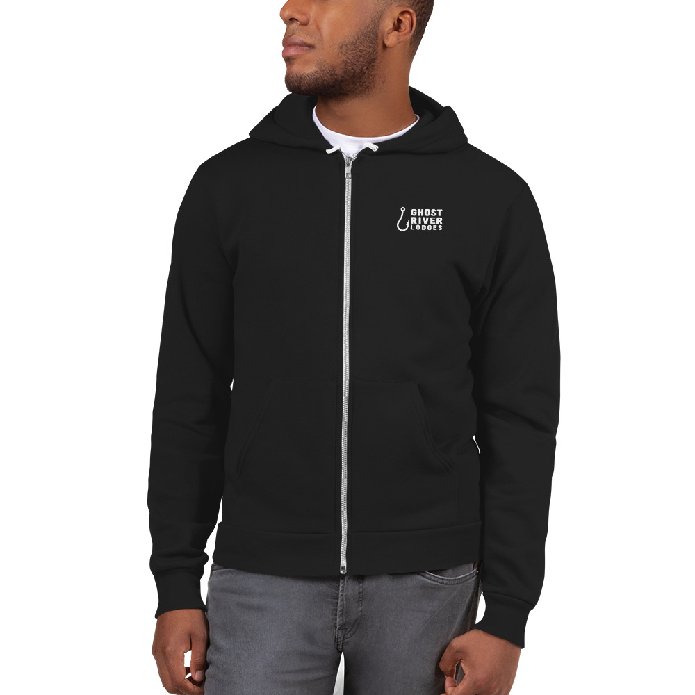Ghost River Lodges - Mens Black Zip Hoodie