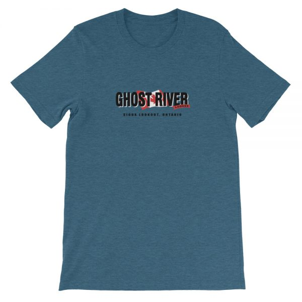 Ghost River Lodges – Mens Heather Deep Teal Classic Tshirt – Flat.jpg