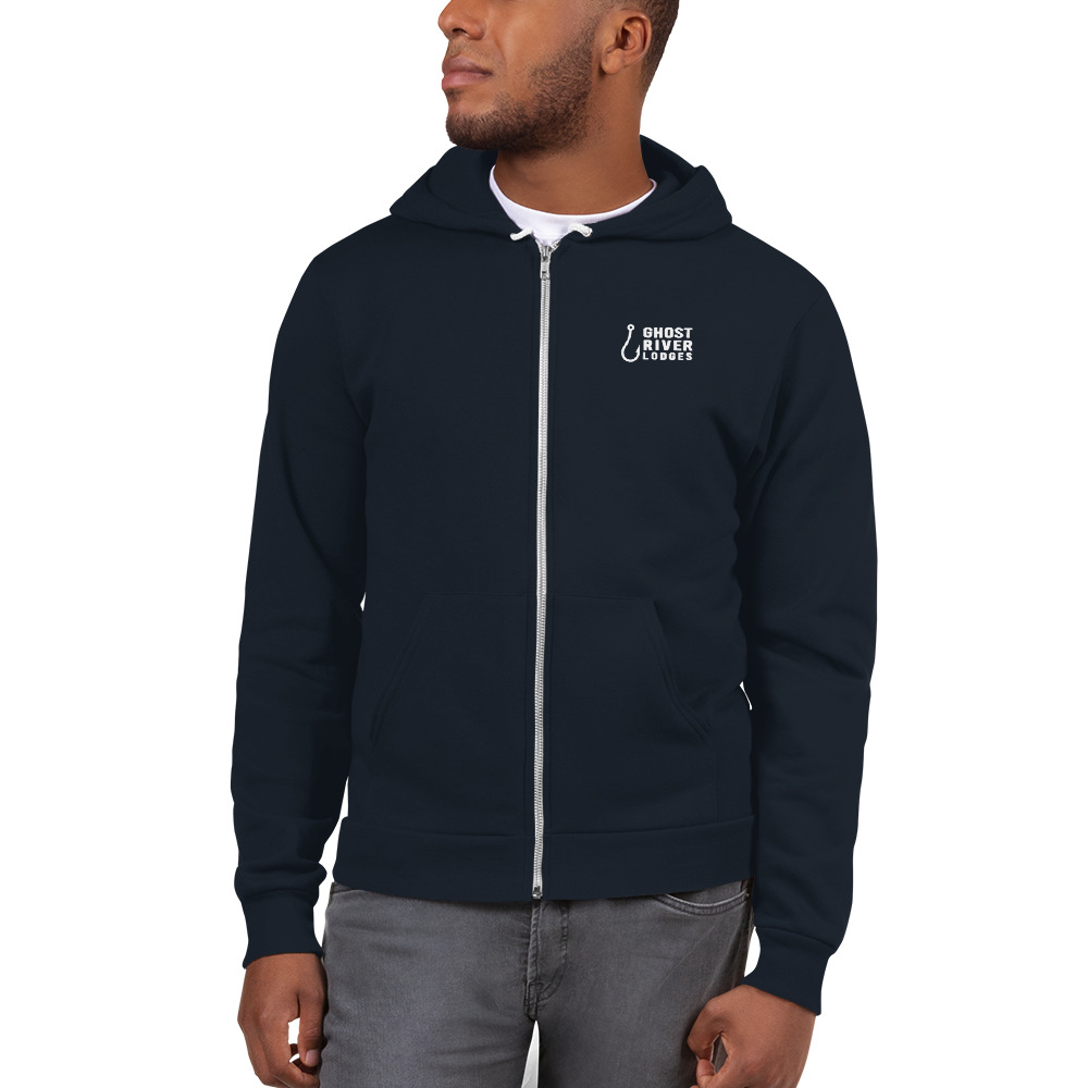 Ghost River Lodges - Mens Navy Zip Hoodie