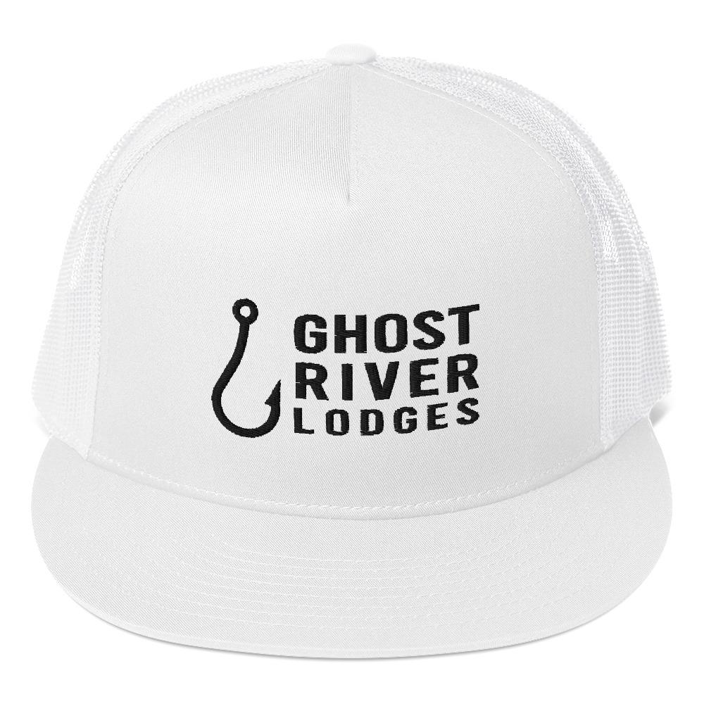 Ghost River Lodges - Trucker Hat - Hook Logo - White