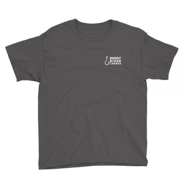 Ghost River Lodges – Youth Charcoal Tshirt – Flat