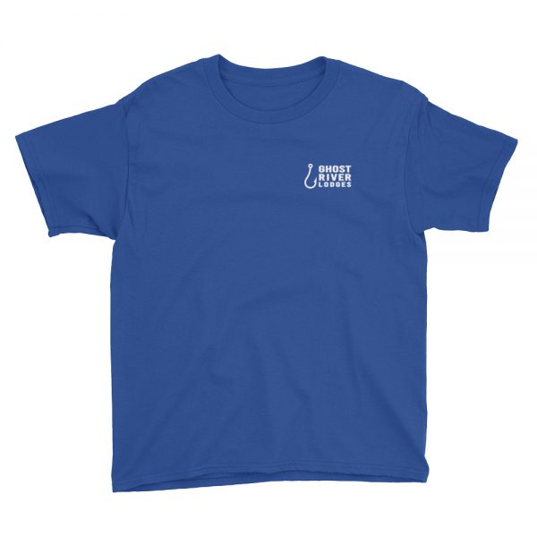 Ghost River Lodges – Youth Royal Blue Tshirt – Flat